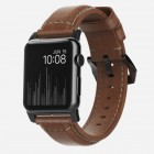 Nomad Traditional Horween Leather Strap Apple Watch 42mm Series 3 / 2 / 1 Rustic Brown - Black
