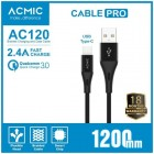 ACMIC AC120 Cable Data Charger USB-C Fast Charging - Black (120cm)