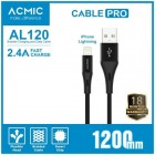 ACMIC AL120 Cable Data Charger iPhone Lightning Fast Charging - Black (120cm)