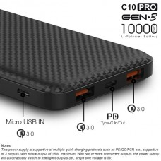 Jual ACMIC C10PRO Power Bank 10000 mAh QC 3.0 PD Power Delivery - Black + Garansi 18 bulan Indonesia Original Harga Murah