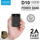 ACMIC D10 Mini Power Bank 10000 mAh (Digital Display + 2A Fast Charge) - Black + Garansi 18 bulan