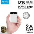ACMIC D10 Mini Power Bank 10000 mAh (Digital Display + 2A Fast Charge) - White + Garansi 18 bulan